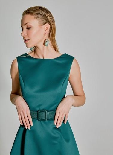 People By Fabrika Saten Kemerli Abiye Elbise Yeşil